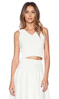 Sam Edelman Cropped Ottoman V-Neck Top in White