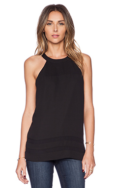 Sam Edelman Sheer Inset Tank with Zip Back in Black
