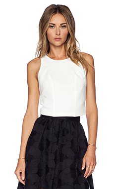 Sam Edelman Solid Crop Top in Linen White