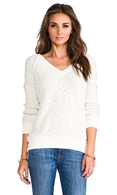 Sanctuary V-Neck Boucle Sweater in Ivory