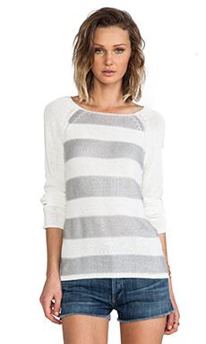 Sanctuary Baseball Stripe Sweater in Grey & White