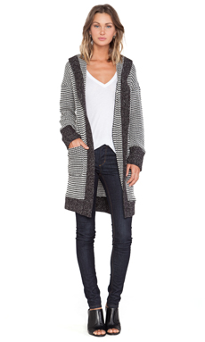 Sanctuary Coatigan Sweater in Black & White