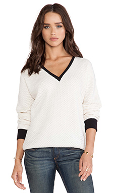 Sanctuary Deeper Than V Sweater in Ivory & Blace