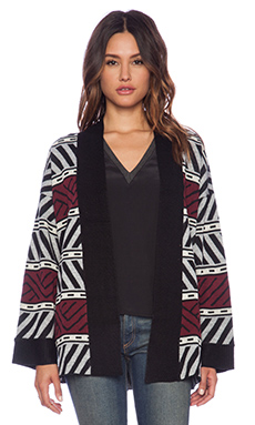 Sanctuary Graphic Loom Cardigan in Charcoal & Port