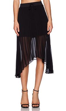 Sanctuary Allure Pleated Midi Skirt in Black