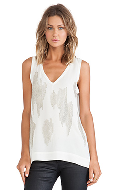 Sanctuary Sequined Night Out Tank in Ivory & Silver