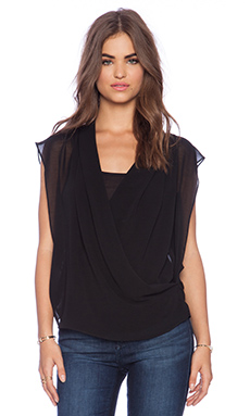 Sanctuary Drapy Wrap Top in Black