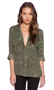 Sanctuary Boyfriend Button Up in Moss Camo