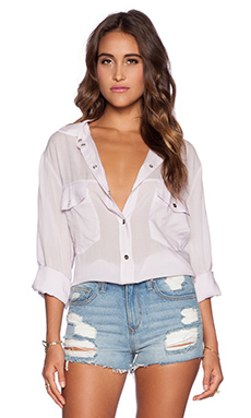 Sanctuary Boyfriend Button Up in Sweet Pea