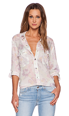 Sanctuary Boyfriend Button Up in Pastel Tropical