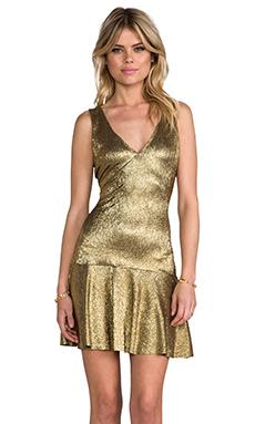 SAM&LAVI Lesa Dress in Metallic Gold Knit