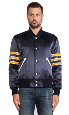 S&H Athletics Bird Jacket in Navy/ Orange Stripe