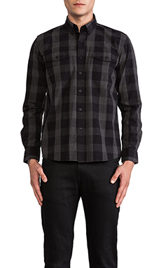 SATURDAYS NYC Javas Plaid Chambray Button Down in Black Chambray