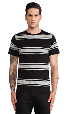 SATURDAYS NYC Randall Large Stripe Tee in Black
