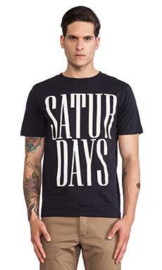SATURDAYS NYC Rio Stacked Tee in Navy