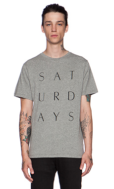SATURDAYS NYC Thin Stack Tee in Grey Heather