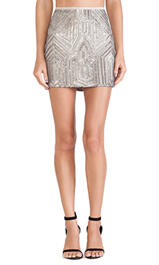 SAYLOR Iris Sequin Skirt in Platinum