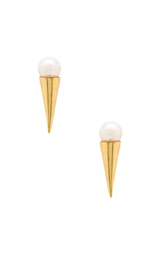 Stella and Bow Henrietta Earrings in Gold Pearl