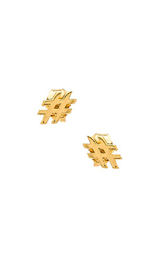 Stella and Bow Hashtag Earrings in Gold