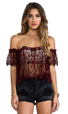 STONE_COLD_FOX Moroccan Holy Tube Top in Blood Red Lace