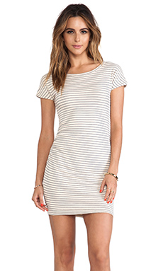 SUNDRY Boat Neck Striped Dress in Almond