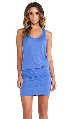 SUNDRY Rushed Tank Dress in Iris