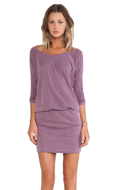 SUNDRY Long Sleeve Dress in Beet Pigment