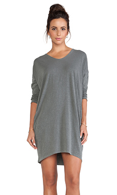 SUNDRY 3/4 Long Sleeve Tunic Dress in Army Pigment