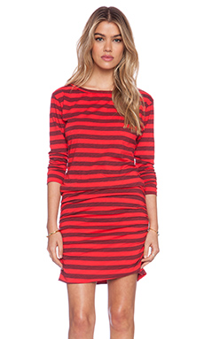 SUNDRY Striped Boat Neck Dress in Red