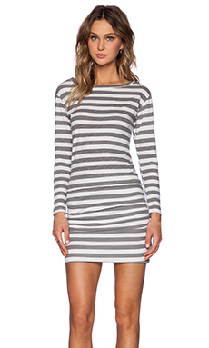 SUNDRY Thick Stripe Boat Neck Long Sleeve Dress in Oyster