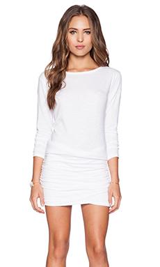 SUNDRY Boat Neck Long Sleeve Dress in White