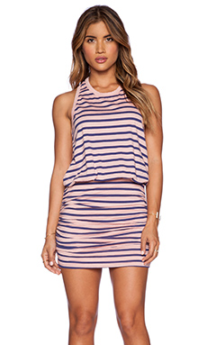 STRIPED RUCHED TANK DRESS