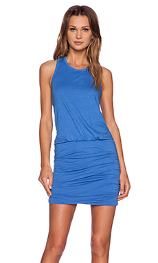 SUNDRY Ruched Tank Dress in Atlantis