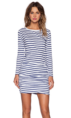 SUNDRY Boat Neck Long Sleeve Dress in White