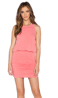 SUNDRY Ruched Tank Dress in Coral Pigment
