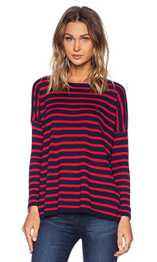 SUNDRY Striped Cashmere Crew in Navy & Red