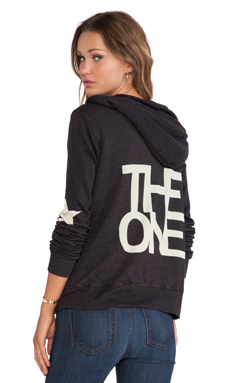 SUNDRY The One Zipper Hoodie in Vintage Black