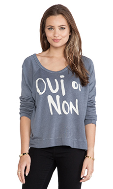 SUNDRY Oui Ou Non Cropped Pullover in Grey Blue