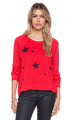 SUNDRY Stars Pattern Cropped Pullover in Red