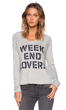 SUNDRY Weekend Lovers Cropped Pullover in Heather Pearl