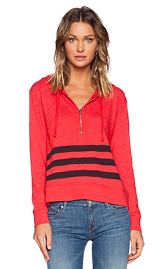SUNDRY Striped Zipper Pullover Hoodie in Red