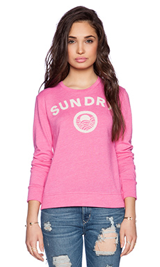 SUNDRY Embroidered Basic Sweatshirt in Carnation