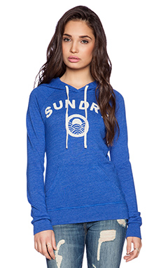 SUNDRY Embroidered Pullover Hoodie in Cobalt