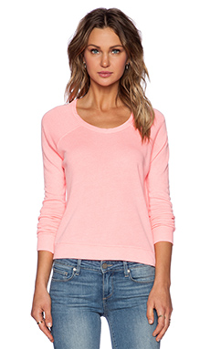 SUNDRY Cropped Pullover Sweatshirt in Neon Heat