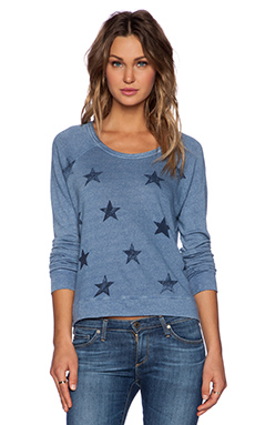 SUNDRY Stars Cropped Pullover Sweatshirt in Chambray