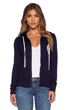 SUNDRY Sailboat Zipper Hoodie in Deep Sea