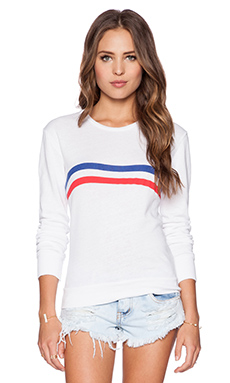 SUNDRY Striped Basic Sweatshirt in White