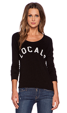 SUNDRY Embroidered Locals Cropped Pullover in Black