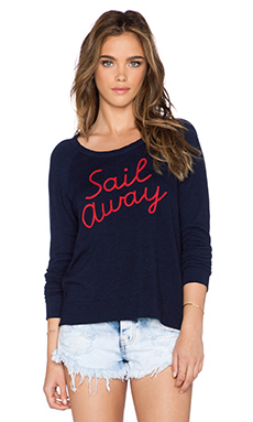 SUNDRY Sail Away Crop Sweatshirt in Deep Sea