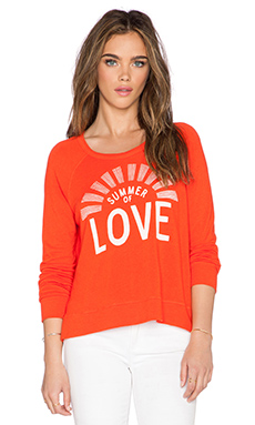 SUNDRY Summer Love Crop Sweatshirt in Coral